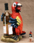 Parrot Wine Bottle Holder with Topper